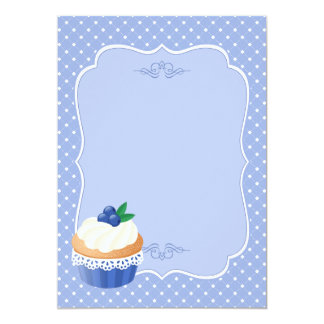 Sweet Delicious Blueberry Cupcake Blue Blank 5x7 Paper Invitation Card