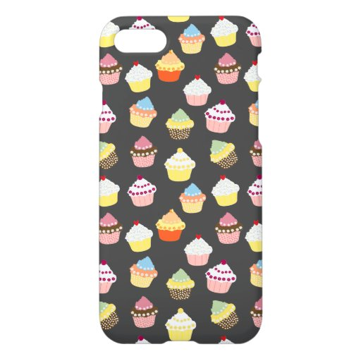 Sweet Delicious Cup Cakes Pattern Texture DarkGrey iPhone 8/7 Case