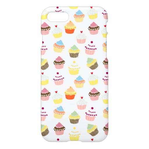 Sweet Delicious Cup Cakes Pattern Texture On White iPhone 8/7 Case