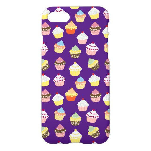 Sweet Delicious Cup Cakes Pattern Texture OnPurple iPhone 8/7 Case