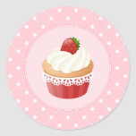 Sweet Delicious Strawberry Cupcake Classic Round Sticker
