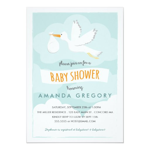 Sweet delivery stork baby shower invitation zazzle for Baby shower stork decoration