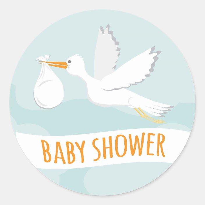 Sweet Delivery Stork Baby Shower Sticker Zazzle Com