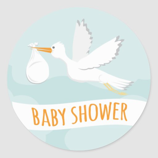 Sweet delivery stork baby shower sticker zazzle for Baby shower stork decoration