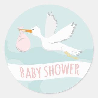 157 stork baby girl shower stickers and stork baby girl shower sticker