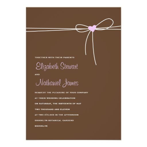 Sweet Delivery Wedding Invitation Brown & Purple