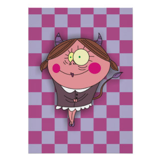 Sweet Devil Girl on Purple Chequer 3D  Posters