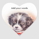 Sweet Dog Art Heart Label Sticker
