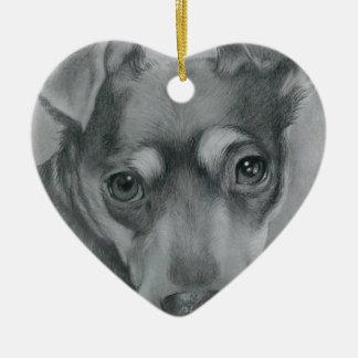 Sweet dog ceramic ornament