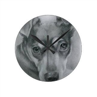 Sweet dog round clock