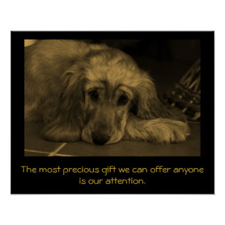 Sweet Dog with Inspirational Quote. Poster