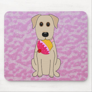 Sweet Dog Yellow Lab with Cupcake Mouse Pad