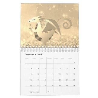 Sweet Dragon Story Glitter Pink Rose Gold Pastel Calendar