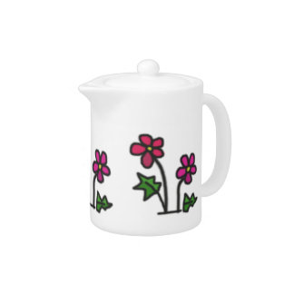 Sweet Drawn Soft Contrast Pink Flowers Teapot