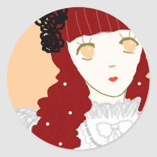 Sweet Dreaming Girl Classic Round Sticker