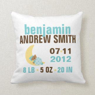 Sweet Dreams Baby Bear Birth Announcement {blue} Throw Pillows
