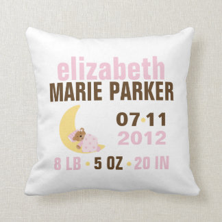 Sweet Dreams Baby Bear Birth Announcement {pink} Throw Pillow