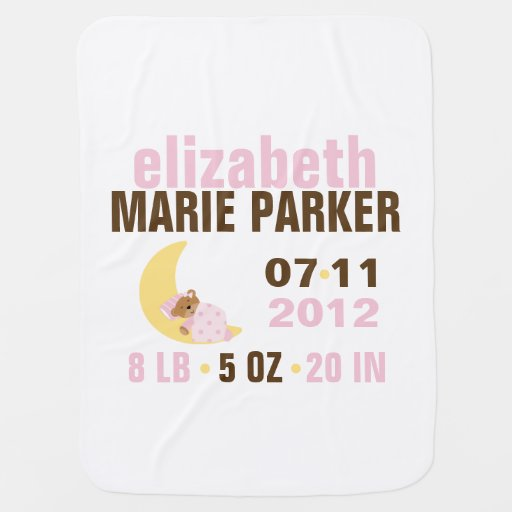 Sweet Dreams Baby Bear Birth Announcement {pink} Receiving Blankets