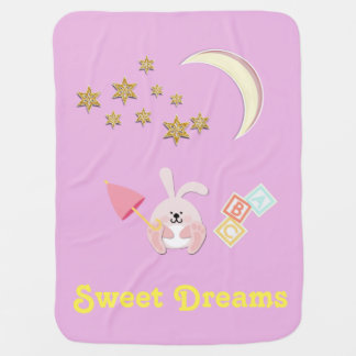 """""""Sweet Dreams"""" Baby Blanket with Bunny, Star, Moon"""