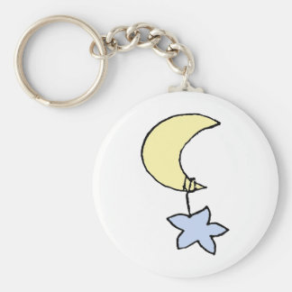 Sweet dreams - baby moon & star basic round button keychain