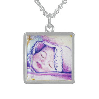 Sweet Dreams Baby Square Sterling Silver Necklace