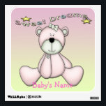 """Sweet Dreams Bear Square Wall Decal<br><div class=""""desc"""">This adorable Sweet Dreams Bear Square Wall Decal features pastel pink and yellow background that is customizable, a cute pink teddy bear with a yellow bow. Decorative text with yellow stars is : Sweet Dreams. Text is set up to add your baby&#39;s name or any text you want. Text can...</div>"""