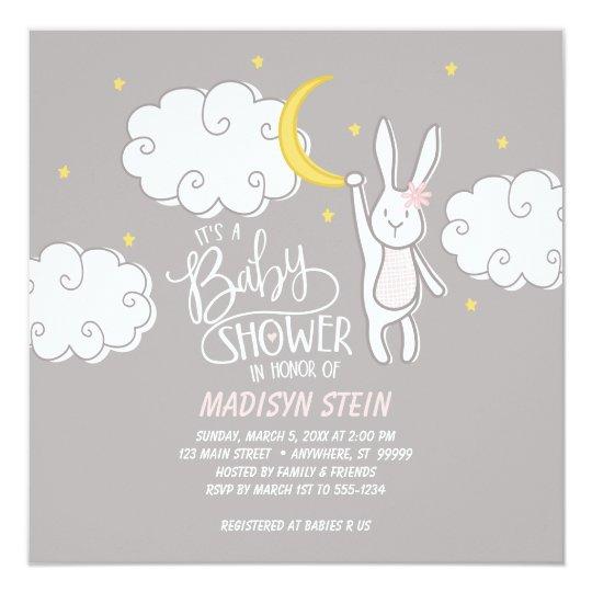 Sweet Dreams Bunny Baby Shower Invitation