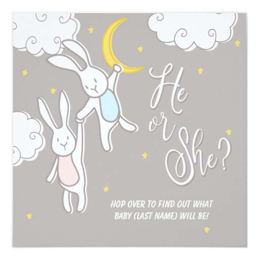 """Sweet Dreams Bunny"" Gender Reveal Baby Invitation"