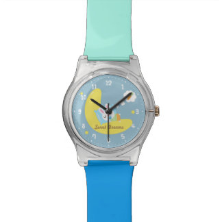 Sweet Dreams Cute Bunny on the Moon Wristwatches