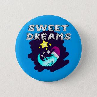 Sweet Dreams - Cute Moon Taking a Nap Pinback Button