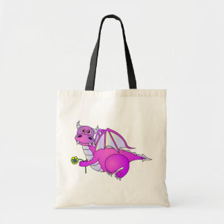 Sweet Dreams - Cute Purple Dragon with Flower Tote Bags