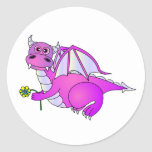 Sweet Dreams - Cute Purple Dragon with Flower Classic Round Sticker