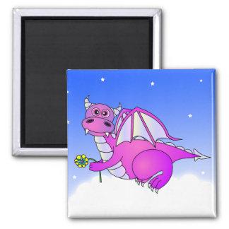 Sweet Dreams - Cute Purple Dragon with Flower Magnet