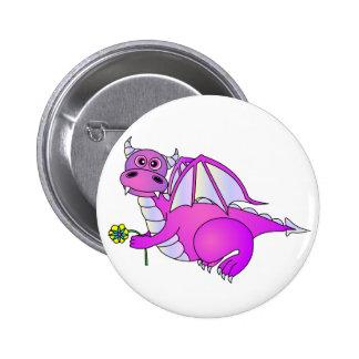 Sweet Dreams - Cute Purple Dragon with Flower Pinback Button