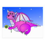 Sweet Dreams - Cute Purple Dragon with Flower Post Card