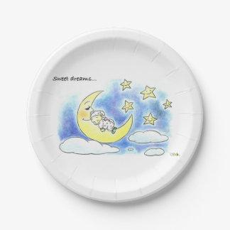 sweet dreams cute sleeping baby baby shower paper plate