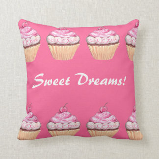 Sweet Dreams Girls Pink Cupcakes Sleepover Pillow