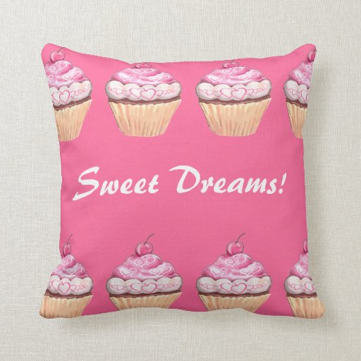 Sweet Dreams Girls Pink Cupcakes Sleepover Throw Pillow