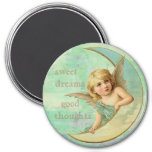 Sweet dreams, Good Thoughts Angel 3 Inch Round Magnet