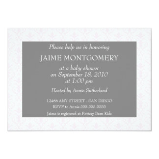 Sweet Dreams in Pink Damask Personalized Invitations
