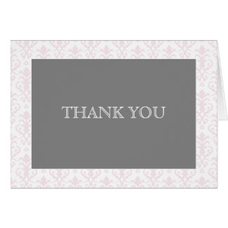 Sweet Dreams in Pink Damask Thank You Note Stationery Note Card