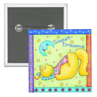 Sweet Dreams Kitty Button Badge