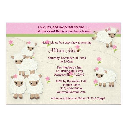 sweet dreams lamb baby shower invitation girl sdk zazzle