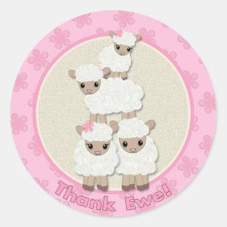 Sweet Dreams LAMB Baby Shower SDK#4 Thank Ewe Classic Round Sticker