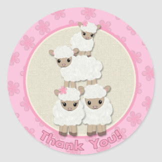Sweet Dreams LAMB Baby Shower SDK#4B THANK YOU Classic Round Sticker