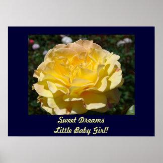 Sweet Dreams Little Baby Girl! art prints Rose Posters