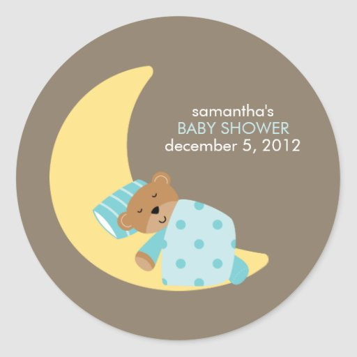 Sweet Dreams Lullaby Boy Baby Shower Stickers