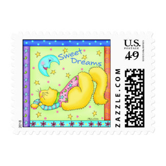 Sweet Dreams Napping Cat Postage Stamp