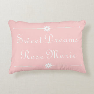 Sweet Dreams on Baby Pink Personalized Decorative Pillow