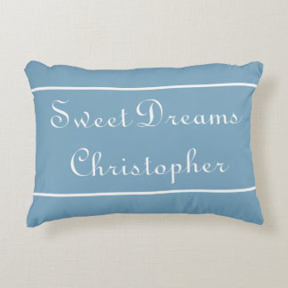 Sweet Dreams on Carolina Blue Personalized Decorative Pillow
